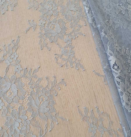 Bluish grey floral pattern chantilly lace fabric. Photo 2