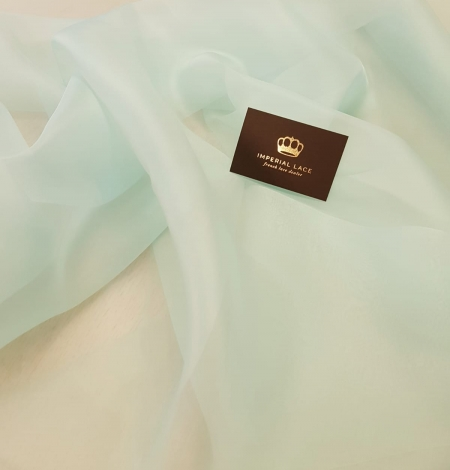 Mint green silk organza for embroidery . Photo 1