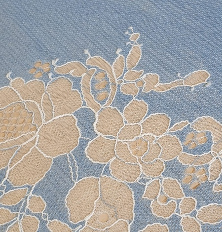 Light blue with white flower pattern fabric. Photo 5