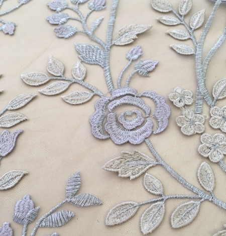 Multicolored 3D lace fabric . Photo 8
