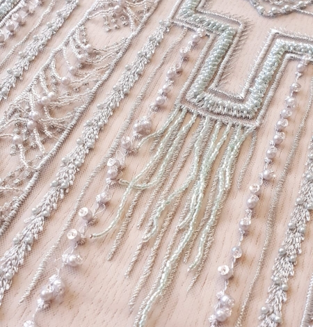 Light green geometric beaded with hanging details lace fabric. Photo 5