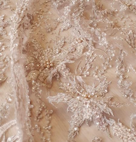 Multicolor beaded lace fabric. Photo 3