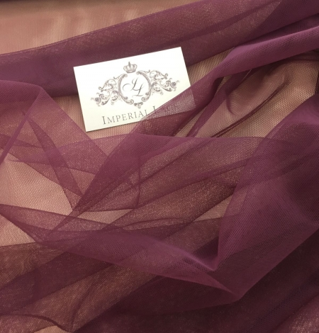 Dark lilac tulle fabric. Photo 1