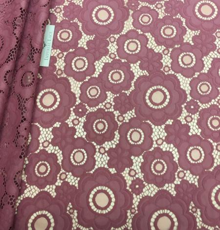 Dark Raspberry Red Lace Fabric. Photo 3