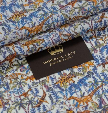 Multicolor nature pattern light cotton fabric. Photo 1