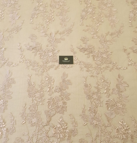 Dark powder nude floral pattern embroidery on tulle fabric. Photo 8