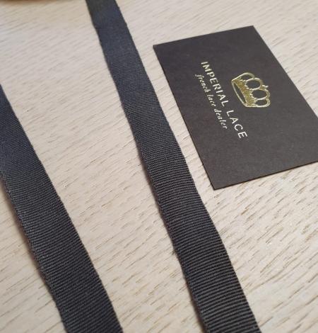 Dark grey grosgrain viscose ribbon . Photo 1