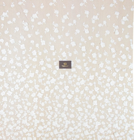 Ivory floral pattern beaded embroidery on tulle fabric. Photo 9