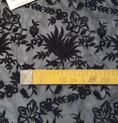 Black embroidery lace fabric. Photo 5