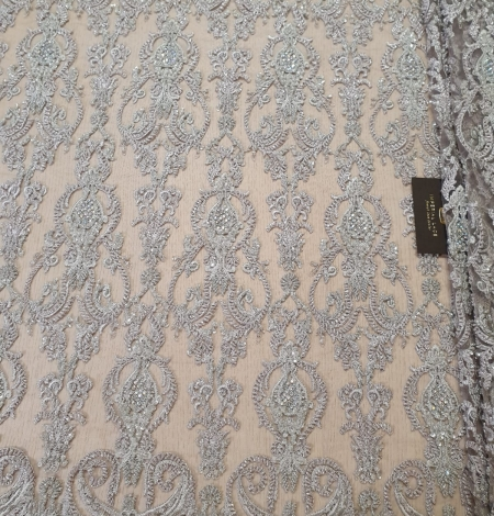 Lilac grey beaded lace fabric. Photo 3