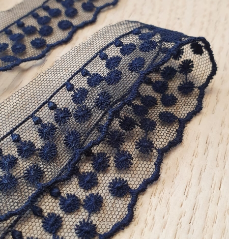 Dark blue dots on tulle lace trimming. Photo 4