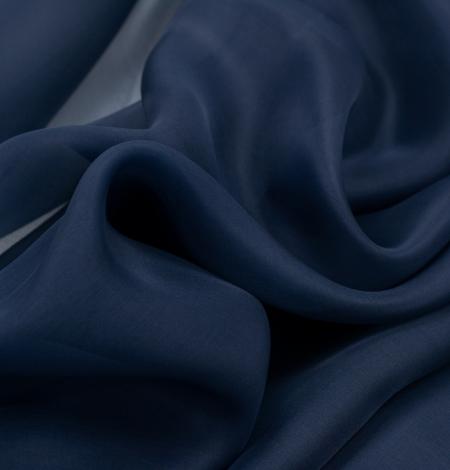 Dark blue silk organza fabric. Photo 6
