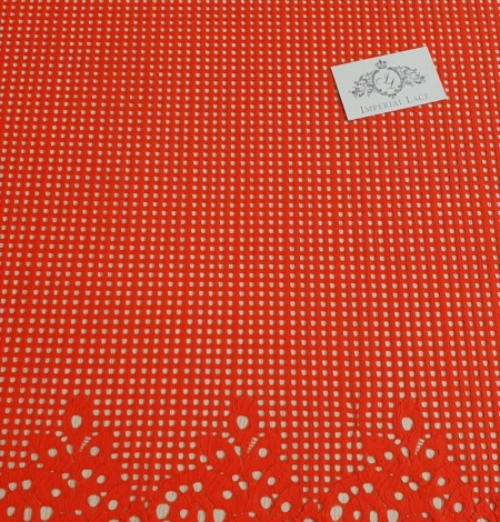 Orange red guipure lace fabric. Photo 2