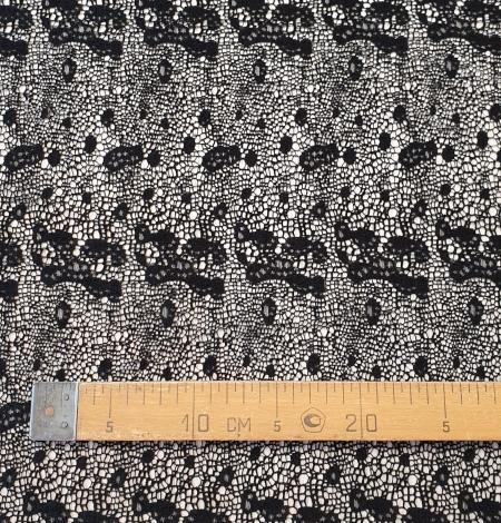 Black interesting design viscose guipure lace fabric . Photo 8