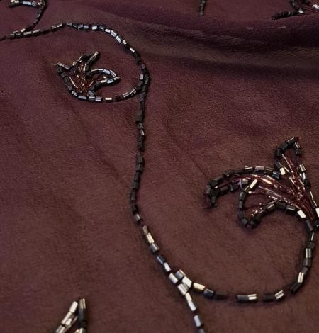 Lilac embroidery on silk chiffon fabric. Photo 2
