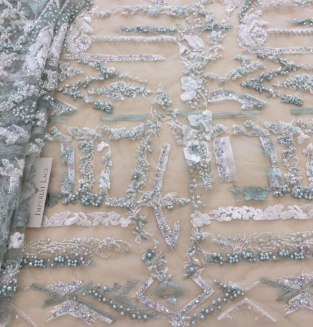 Mint green beaded embroidery . Photo 2