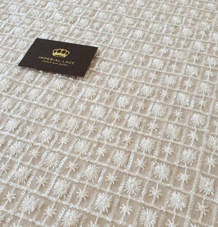 Ivory checkered floral beaded lace fabric. Photo 8