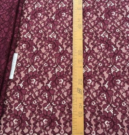 Bordo red floral alencon lace fabric. Photo 4
