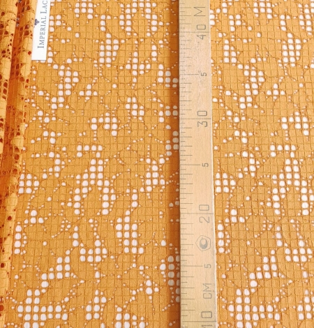 Rust tone color chantilly lace fabric. Photo 6