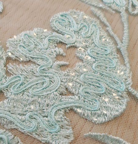 Blue floral pattern sequin embroidery on tulle fabric. Photo 6