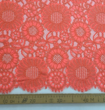 Orange Lace Fabric. Photo 4