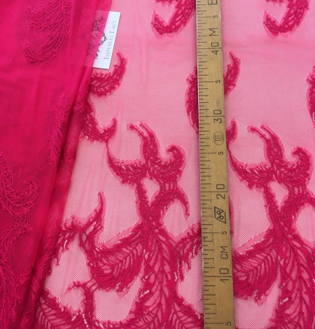 Raspberry pink lace fabric. Photo 8