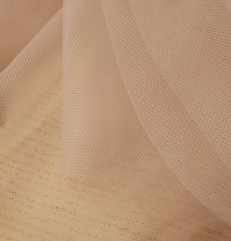 Beige invisible tulle fabric from Italy. Photo 7