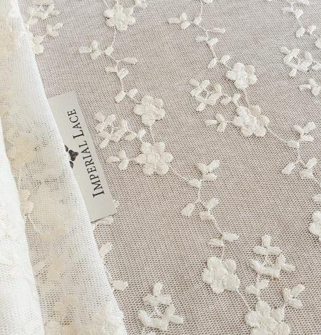 Ecru embroidery lace fabric. Photo 1