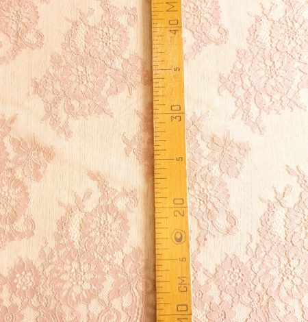 Powder color Chantilly lace fabric . Photo 6