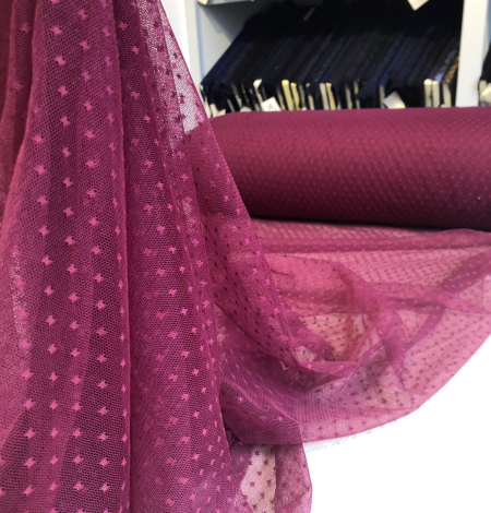 Wine red tulle fabric with dots. Photo 5