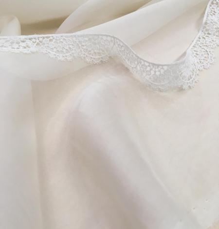 Light ivory silk chiffon fabric. Photo 4