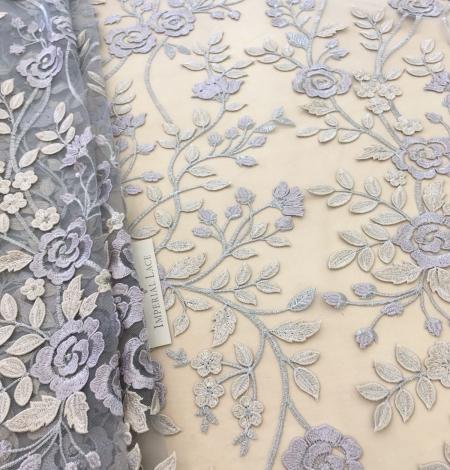 Multicolored 3D lace fabric . Photo 1