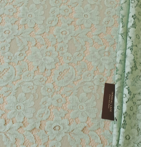 Mint green cotton guipure lace fabric . Photo 1