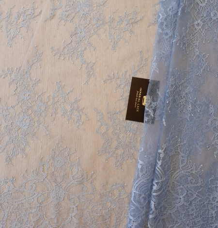 light blue floral pattern chantilly lace fabric. Photo 5