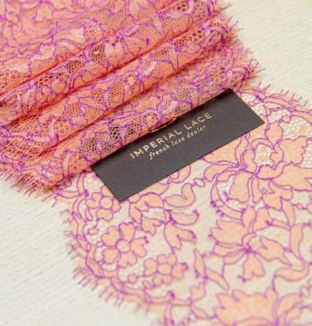 Orange with lilac floral pattern chantilly lace trim. Photo 1