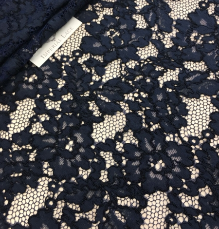 Dark blue lace fabric. Photo 1