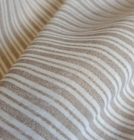 Grey with white stripes viscose fabric. Photo 3