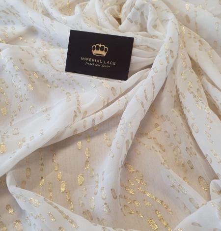 Ivory with gold dots silk crepe chiffon fabric. Photo 3