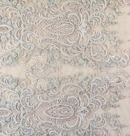 Beige embroidery on tulle fabric. Photo 6
