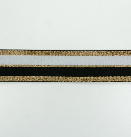 Black with gold and white elastic ribbon. Photo 2