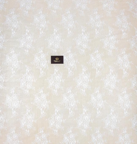 Off white floral pattern chantilly lace fabric. Photo 9