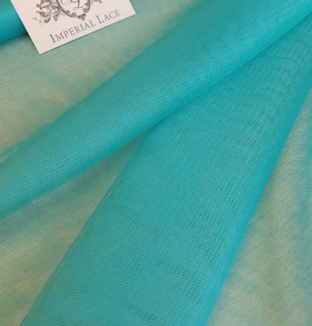Turquoise silk tulle fabric. Photo 1