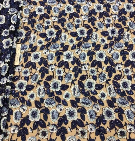 Multicolor beaded lace fabric. Photo 1