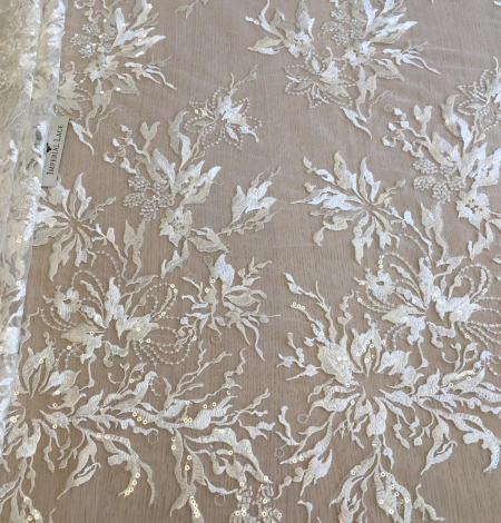 Ivory sequin embroidery lace fabric. Photo 2