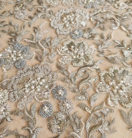 Grayish green beaded lace fabric. Photo 6