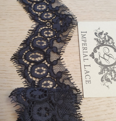 Dark bluish grey guipure lace trimming. Photo 4