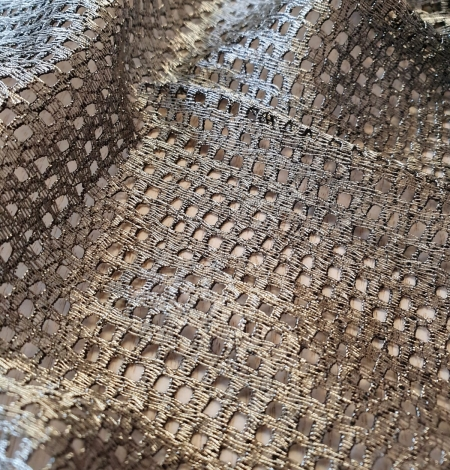 Metallic color guipure lace fabric . Photo 7