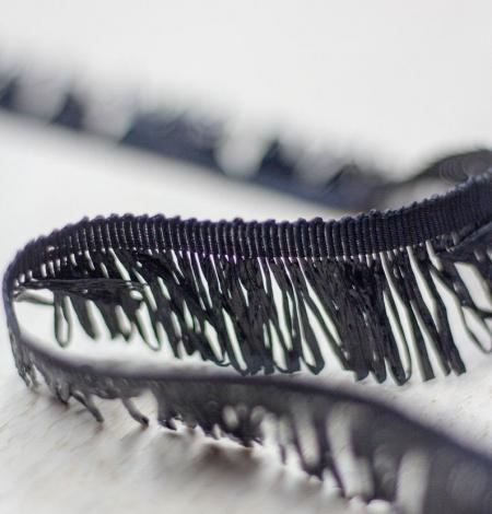 Black grosgrain ribbon with plastic fringes. Photo 1