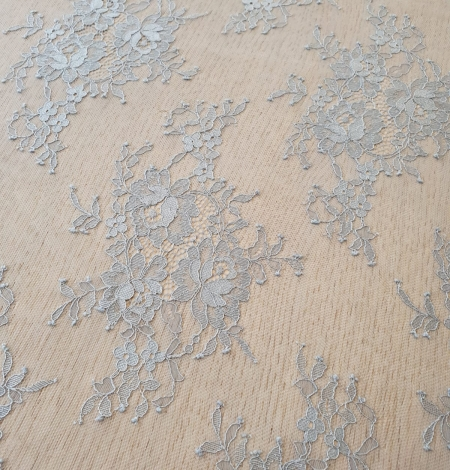 Bluish grey floral pattern chantilly lace fabric. Photo 5
