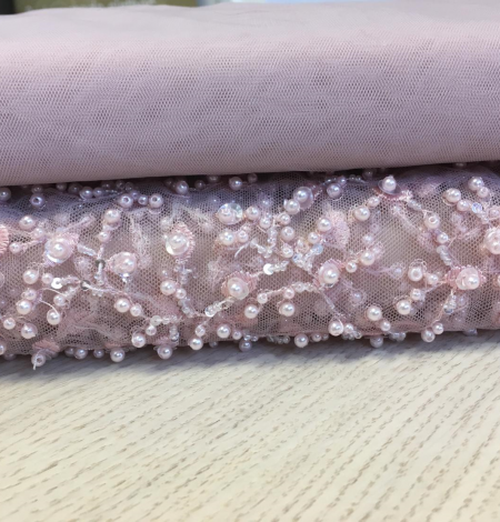 Light pink beaded lace fabric. Photo 5